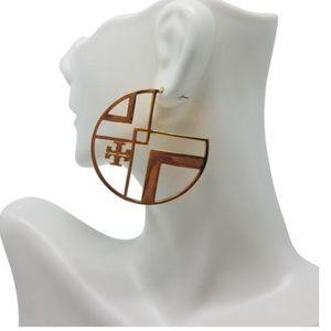 NEW TORY BURCH CHEVRON GOLD HOOP EARRINGS